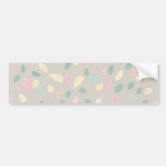 PYGTB PASTEL SOFT LEAVES PATTERN PINK YELLOW GREEN BUMPER STICKER