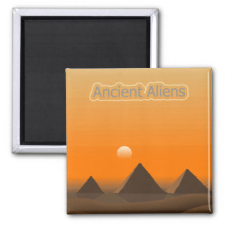 Pyramid Aliens 2 Inch Square Magnet