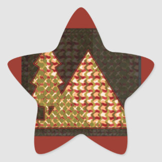 PYRAMID and a TREE Golden UNIQUE Artistic GIFTS Star Sticker
