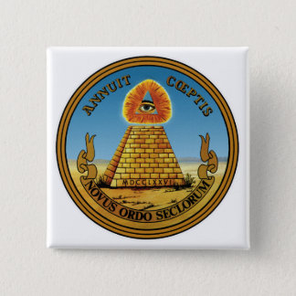 Pyramid and Eye - All Seeing Eye Square Button ~