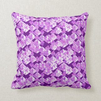 Pyramid crystals, purple throw pillow