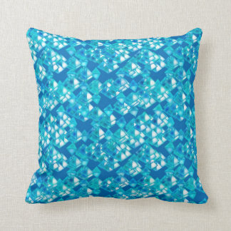 Pyramid crystals, turquoise and blue throw pillow