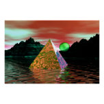 pyramid en the water green with sun poster