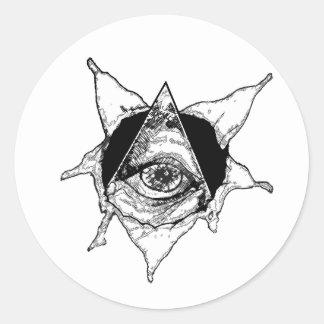 pyramid eye round sticker