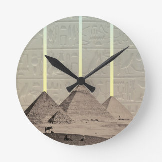 Pyramid Hieroglyph Spotlights Round Wallclocks