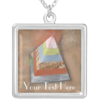 Pyramid in Clouds Square Pendant Necklace