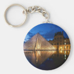 Pyramid in Louvre Museum,Paris,France Basic Round Button Keychain