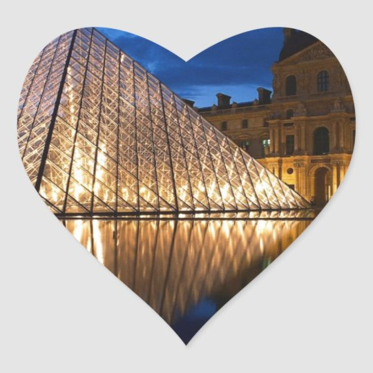 Pyramid in Louvre Museum,Paris,France Heart Sticker