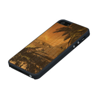Pyramid in the sunet, fantasy landscape carved® cherry iPhone 5 case