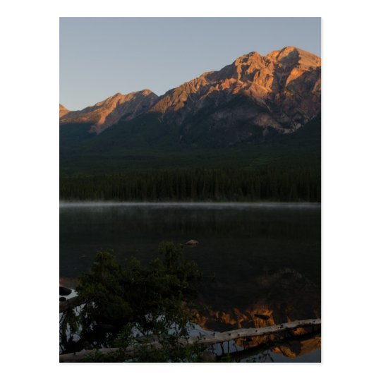 Pyramid Mountain and Lake at dawn Alberta Canada Postcard