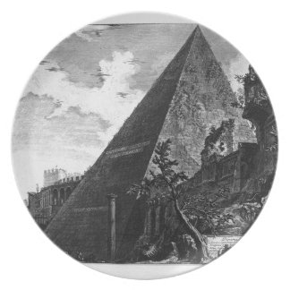 Pyramid of Caius Cestius by Giovanni Battista Melamine Plate