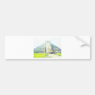 Pyramid Of Chichen Itza Watercolor Design Bumper Sticker