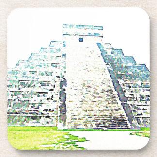 Pyramid Of Chichen Itza Watercolor Design Beverage Coaster