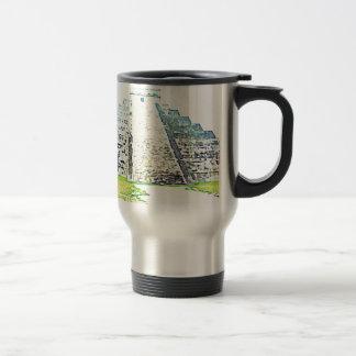 Pyramid Of Chichen Itza Watercolor Design Travel Mug