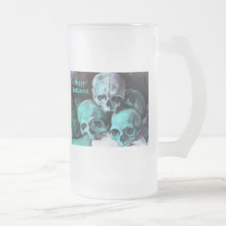 Pyramid of Skulls After Cezanne Frosted Glass Beer Mug