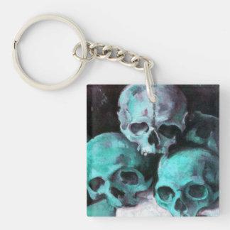 Pyramid of Skulls Square Acrylic Key Chain
