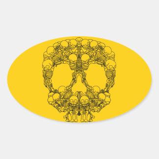 Pyramid of Skulls - Mini Skeletons Oval Sticker