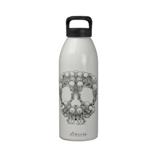 Pyramid of Skulls - Mini Skeletons Reusable Water Bottle