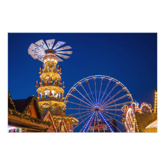 Pyramid on the Christmas market in Rostock Photographic Print