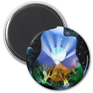 Pyramid Spray Painting with trees acoustic 2 Inch Round Magnet