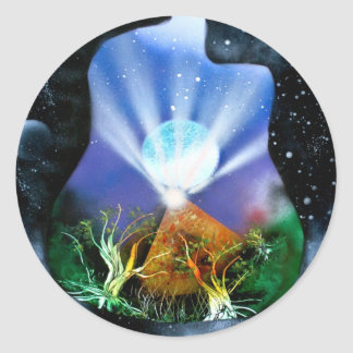 Pyramid Spray Painting with trees acoustic Classic Round Sticker