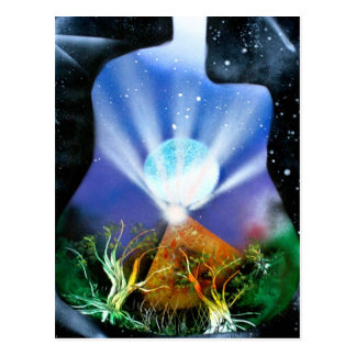 Pyramid Spray Painting with trees acoustic Postcard