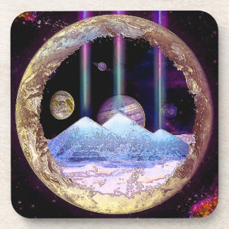 Pyramids and Planet Earth Artwork Beverage Coaster