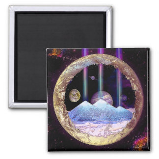 Pyramids and Planet Earth Artwork Magnet