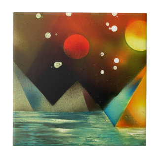 Pyramids by the river ceramic tile
