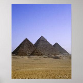 Pyramids in desert Cairo, Egypt Poster
