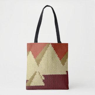 Pyramids Khaki Natural Rust Burgundy Crochet Tote Bag