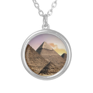 pyramids silver plated necklace