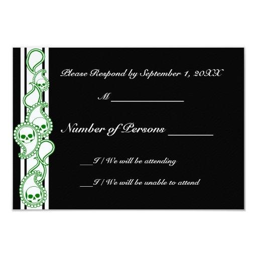 "Pyre (Green) RSVP Card 3.5"" X 5"" Invitation Card"