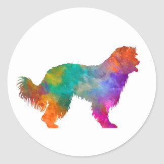 Pyrenean Sheepdog in watercolor Classic Round Sticker
