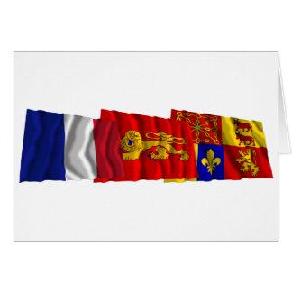 Pyrénées-Atlantiques, Aquitaine & France flags Card