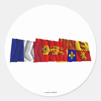 Pyrénées-Atlantiques, Aquitaine & France flags Classic Round Sticker