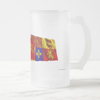 Pyrénées-Atlantiques, Aquitaine & France flags Frosted Glass Beer Mug