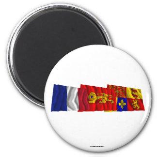 Pyrénées-Atlantiques, Aquitaine & France flags Magnet