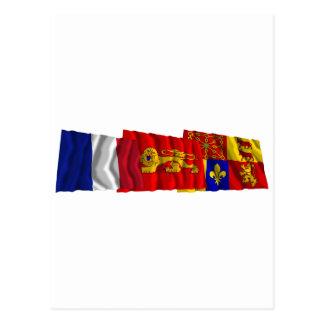 Pyrénées-Atlantiques, Aquitaine & France flags Postcard