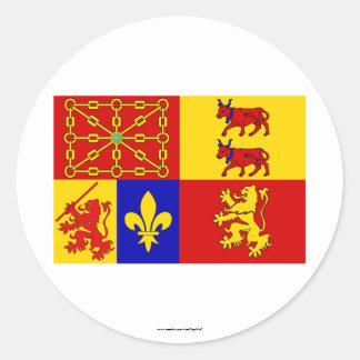 Pyrénées-Atlantiques flag Classic Round Sticker