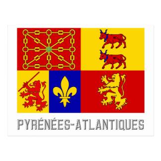 Pyrénées-Atlantiques flag with name Postcard
