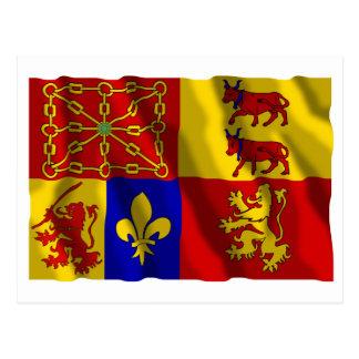 Pyrénées-Atlantiques waving flag Postcard