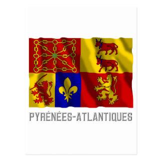 Pyrénées-Atlantiques waving flag with name Postcard