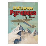 Pyrenees Mountains, Europe vintage Travel poster Card