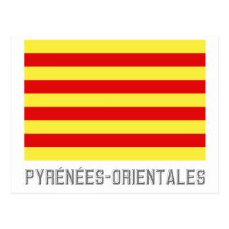 Pyrénées-Orientales flag with name Postcard