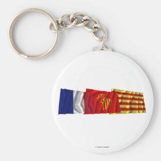 Pyrénées-Orientales, Languedoc-Roussillon & France Basic Round Button Keychain