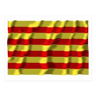 Pyrénées-Orientales waving flag Postcard