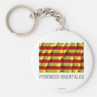 Pyrénées-Orientales waving flag with name Basic Round Button Keychain