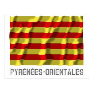 Pyrénées-Orientales waving flag with name Postcard