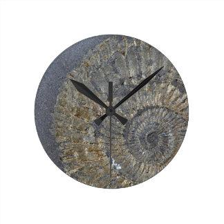 Pyritized Ammonite Round Clock